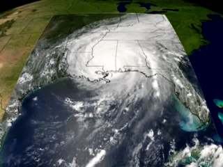 Still from animation showing the progression of Katrina from the Atlantic, across Florida to the Gulf Coast.
