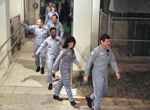 Challenger space shuttle disaster picture: Challenger's seven crew members, including teacher Christa McAuliffe, leave for the launch pad before their fatal flight.
